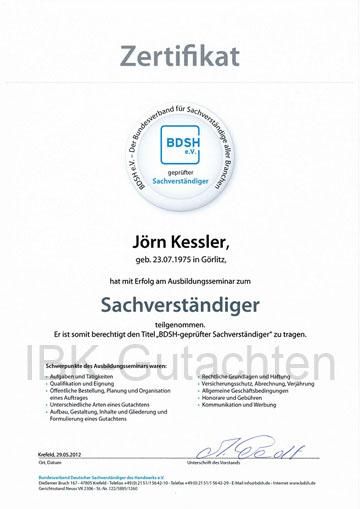 Zertifikat KFZ Sachverständiger
